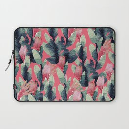 Coral pink navy blue mint green watercolor floral Laptop Sleeve