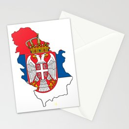 Serbia Map with Serbian Flag Stationery Cards