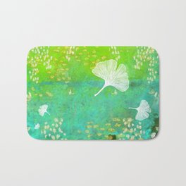Green Ginkgo Tile Bath Mat