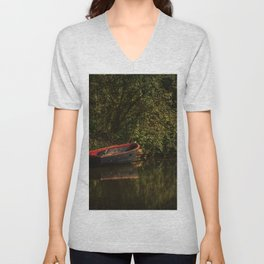 Dinghy On The Oxford Canal Unisex V-Neck
