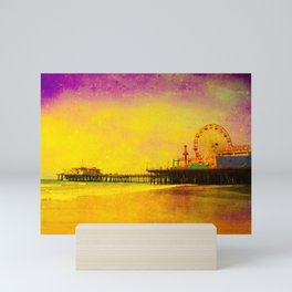 Yellow Purple Santa Monica Pier Mini Art Print