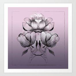 Purple bloom of Magnolia Art Print