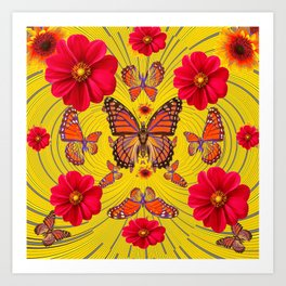 RED FLOWERS MONARCH BUTTERFLY FANTASY ART Art Print