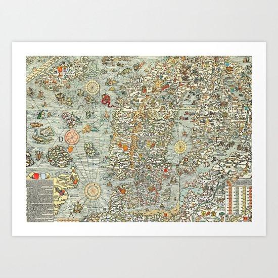 Ancient map Art Print