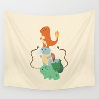 pocket Wall Tapestries featuring Pocket Monsters by Jarvis Glasses