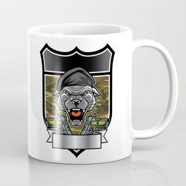 Cougar Panther Mascot Head military emblem Coffee Mug
