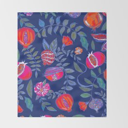 Pomegranate pattern electric blue Throw Blanket
