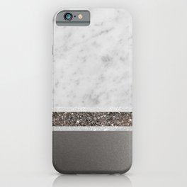 White Marble Silver Glitter Stripe Glam #1 #minimal #decor #art #society6 iPhone Case
