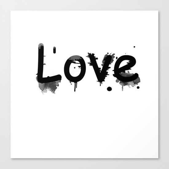 Black and white pattern Love .  1 Canvas Print