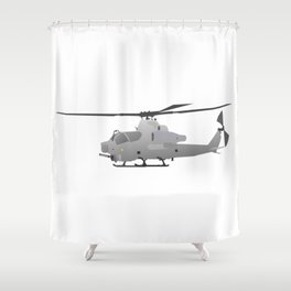 American Grey Attack Helicopter Shower Curtain
