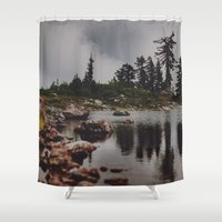 rocky Shower Curtains featuring Rocky Pond by Leah Flores