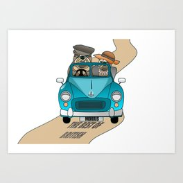 The  Best of British - English Bulldogs in a Morris Minor Art Print