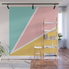 Tropical summer pastel pink turquoise yellow color block geometric pattern Wall Mural