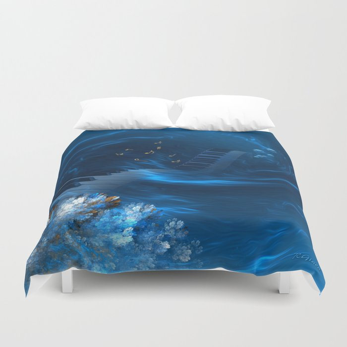 Blue coral melody  Duvet Cover