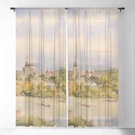 Windsor Castle And River Thames Sheer Curtain