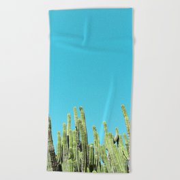 Desert Cactus Reaching for the Blue Sky Beach Towel
