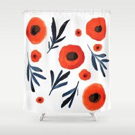 Red Poppies Specimen Shower Curtain