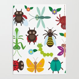 Funny insects Spider butterfly caterpillar dragonfly mantis beetle wasp ladybugs Poster