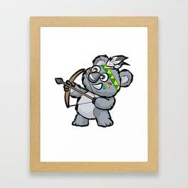 CUTE INDIAN KOALA BEAR Bow and Arrow Cartoon Gift Framed Art Print