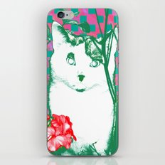flower and cat iPhone & iPod Skin