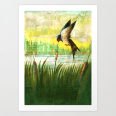 The Swallow and the Reed Art Print