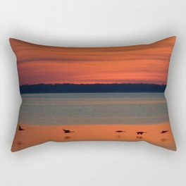 A flock of geese flying north across the calm evening waters of the bay Rectangular Pillow