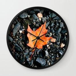 Autumn Fall Seasonal Art Black Rocks Orange Leaf Photograph Wall Clock