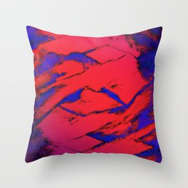 Fractured anger red Throw Pillow