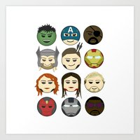avenger Art Prints featuring Avenger Emojis :) by Jozi