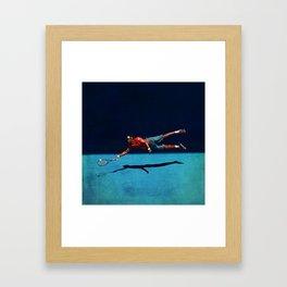 """Gaël """"Superman"""" Monfils flying forehand Framed Art Print"""