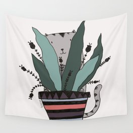 cats love plants print Wall Tapestry