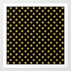 Chic Glam Gold and Black Stars Art Print