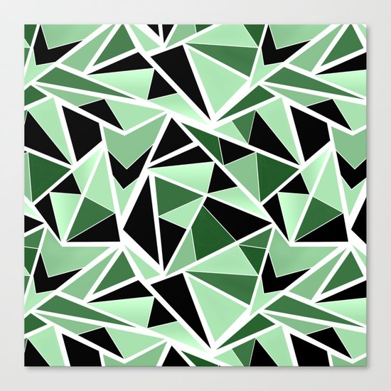 Abstract geometric pattern in black and green tones .Triangles . Canvas Print