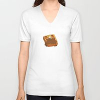 leslie knope V-neck T-shirts featuring Leslie Knope + Giant Waffle by Faellen