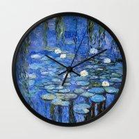 monet Wall Clocks featuring water lilies a la Monet by Jo.PinX
