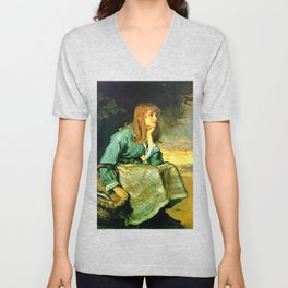 Call Her In - J. Everett Millais Unisex V-Neck