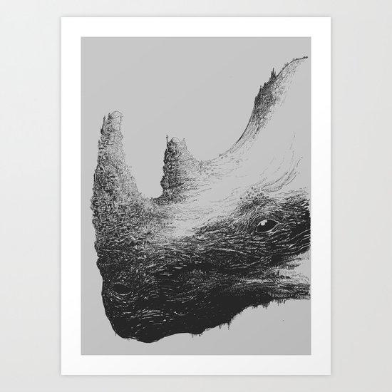 Rhinoceros Valley Art Print