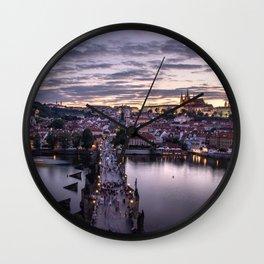 Prague sunsets Wall Clock