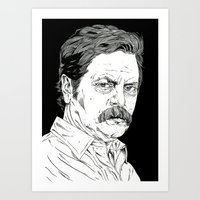 swanson Art Prints featuring Ron Swanson by Andy Christofi