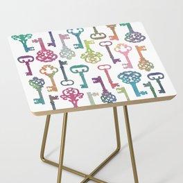 Rainbow Keys on White Side Table