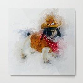 Cowboy Bulldog Metal Print