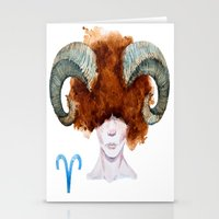 aries Stationery Cards featuring Aries by Aloke Design
