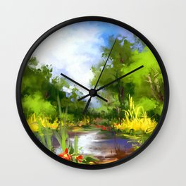 Summer lake Wall Clock