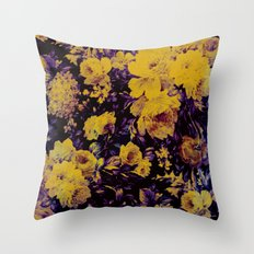 bright floral in yellow and purple Throw Pillow