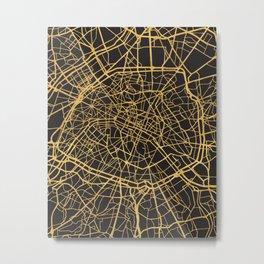PARIS FRANCE GOLD ON BLACK CITY MAP Metal Print