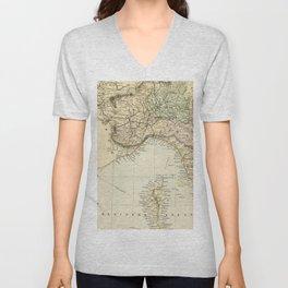 Vintage Retro Map Northern Italy Unisex V-Neck