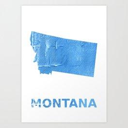 Montana map outline Blue Jeans watercolor Art Print