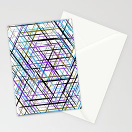 Blue, Purple and Green Line Abstract Pattern Stationery Cards