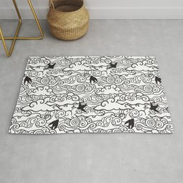 Doodle clouds and swallows. Cloudscape pattern with birds. Rug