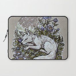 Snowfall Peonies and Arctic Fox Laptop Sleeve